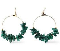 Gold-tone stone hoop earrings
