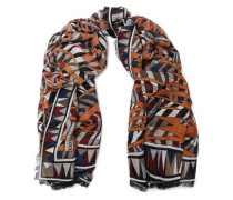 Frayed printed wool, silk and cashmere-blend scarf