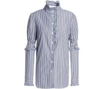 Ruffle-trimmed striped cotton-poplin shirt