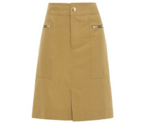 Woman Zip-detailed Cotton-blend Twill Skirt Army Green
