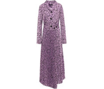 Wrap-effect Printed Crepe De Chine Maxi Shirt Dress Violet