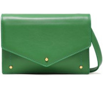 Color-block Leather Clutch Green Size --