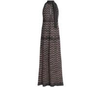Cutout Metallic Crochet-knit Maxi Dress Black