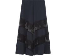 Lace-paneled silk maxi skirt