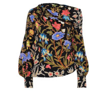 One-shoulder Gathered Floral-print Cloqué Top Black