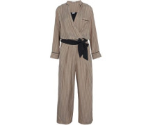 Wrap-effect belted pinstriped silk jumpsuit