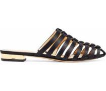 Anya Cutout Embellished Satin Slippers Black