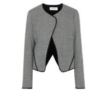 Houndstooth Wool-blend Blazer Black