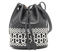 Eyelet-embellished Leather Bucket Bag Black Size --