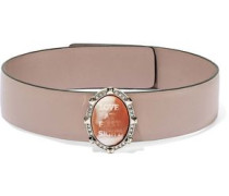 Woman Leather, Coated-metal, Crystal And Stone Choker Neutral