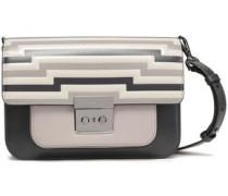 Striped Leather Shoulder Bag Dark Gray Size --