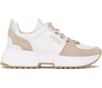 Woman Paneled Leather And Suede Sneakers White