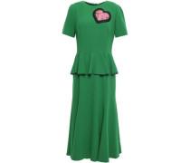 Woman Appliquéd Crepe Peplum Midi Dress Green