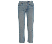Faded Mid-rise Straight-leg Jeans Light Denim  4