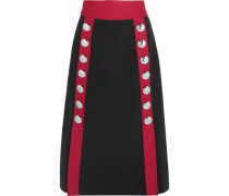 Button-embellished wool-blend midi skirt
