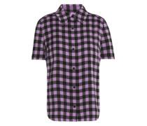 Printed Silk-blend Crepe De Chine Shirt Violet Size 12