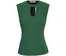 Cutout Crepe Top Forest Green Size 14