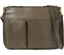 Woman Textured-leather Shoulder Bag Army Green