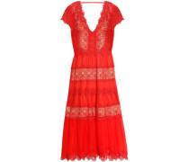 Guipure lace-paneled silk-chiffon midi dress