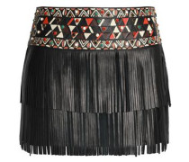 Fringed Embellished Leather Mini Skirt Black