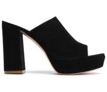 Suede Platform Mules Black