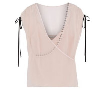 Wrap-effect Bow-detailed Silk-georgette Top Pastel Pink