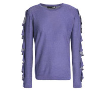 Ruffle-trimmed Metallic Knitted Sweater Violet
