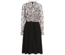 Pleated Floral-print Georgette And Twill Dress Black