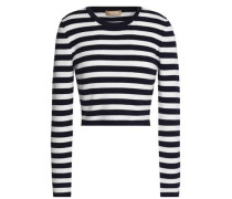 Cropped striped merino wool-blend sweater