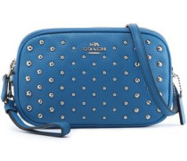 Studded textured-leather shoulder bag