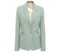 Wool-piqué Blazer Grey Green