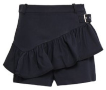 Ruffled Cotton-blend Twill Shorts Midnight Blue