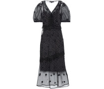 Woman Layered Printed Flocked Tulle Midi Dress Black
