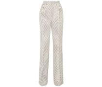 Printed Silk Straight-leg Pants Off-white