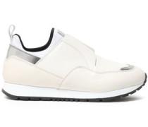 Metallic-paneled Leather And Neoprene Slip-on Sneakers Cream