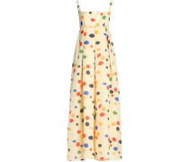 Cutout pleated printed silk-gazar maxi dress