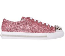 Crystal-embellished Glittered Leather Sneakers Bubblegum