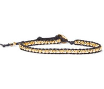 18-karat Gold-plated Sterling Silver, Bead And Cord Bracelet Black Size --