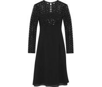 Sequined tulle-paneled chiffon dress