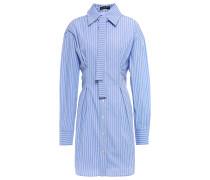 Woman Blaise Tie-neck Striped Cotton-poplin Mini Shirt Dress Light Blue