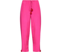 Tasseled Silk Crepe De Chine Straight-leg Pants Bright Pink