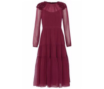 Appliquéd silk-chiffon midi dress