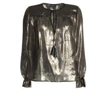 Tasselled lame silk blouse