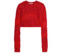 Cropped open-knit wool-blend sweater