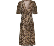Wrap-effect Ruched Leopard-print Silk-georgette Dress Animal Print Size 0