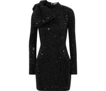 Woman Mica Bow-embellished Sequined Metallic Crepe Mini Dress Black