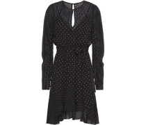 Woman Candace Asymmetric Polka-dot Chiffon Mini Dress Black