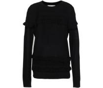 Ruffled Merino Wool Sweater Black
