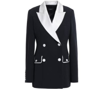Double-breasted Two-tone Satin-crepe Blazer Black