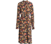 Pussy-bow floral-print silk dress